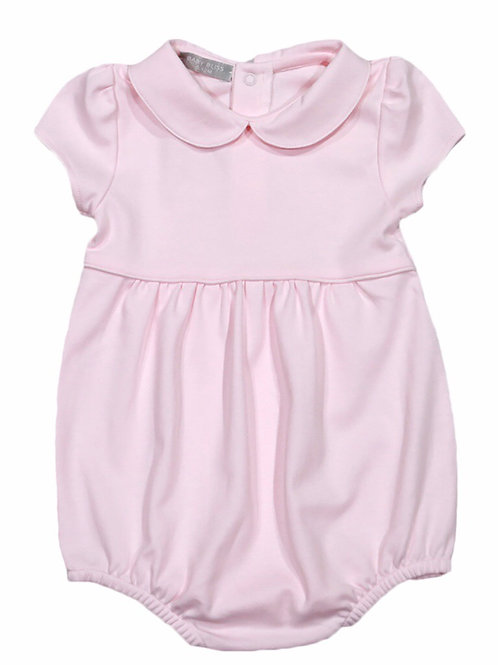Baby Bliss Pink Pima Rounded Collar Bubble