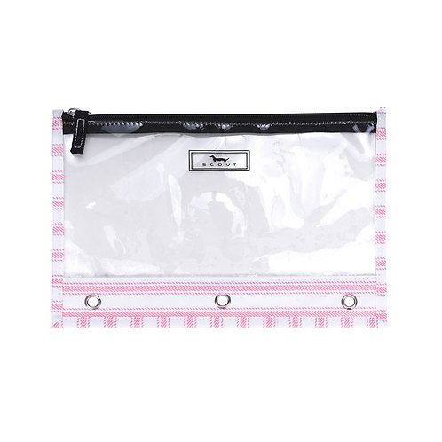 Scout Clear Pencil Bag-Pink Stripe
