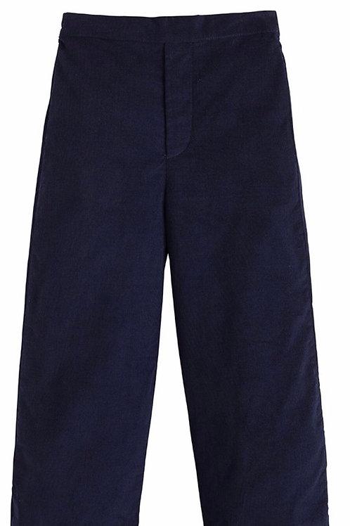 Little English Navy Basic Cord Pants-Flat Front