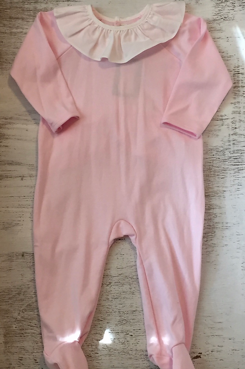 Ollie and Bess Pink Pima Romper with Ruffle Collar