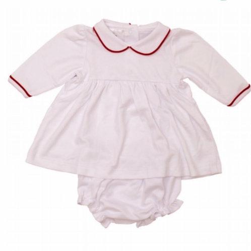 White with Red Trim Pima Twirly Dress