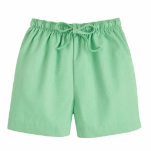 Little English Green Twill Drawstring Shorts
