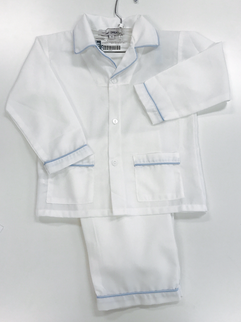 Sweet Dreams Pajamas white and blue trim