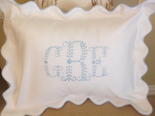 Scallopped Pique Pillow with Light Blue Trim