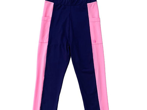 SET Athleisure Navy and Pink Leggins with Pocket