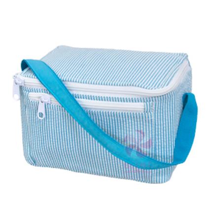 Aqua Seersucker Lunchbox