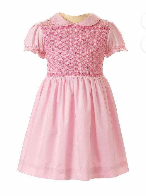 Rachel Riley Pink Bow Smocked Dress