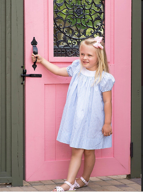 Lullaby Set Rosie Rounded Collar Dress-Blue Gingham