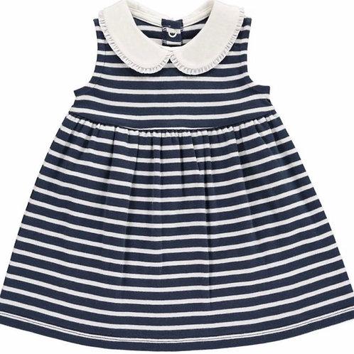 Breton Navy Stripe Frill Collar Dress