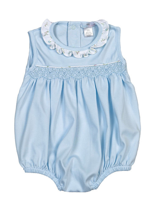 Baby Bliss Pima Blue Smocked Bubble