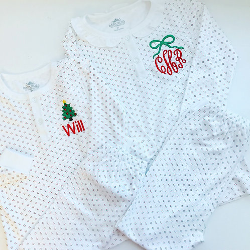 Baby Bliss Red/Green Dot Girl Ruffle Pima Pajamas 2t, 3t