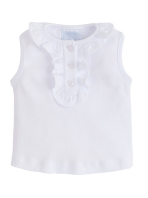 Little English White Ruffled Henley Shirt