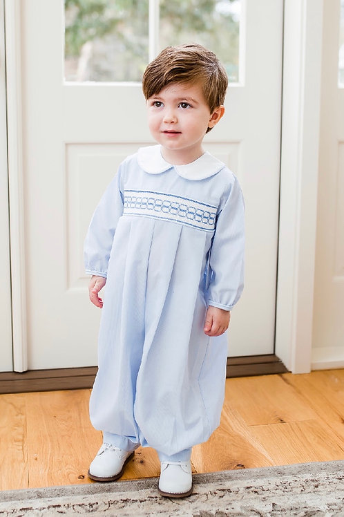 Lullaby Blue and White Smocked Romper
