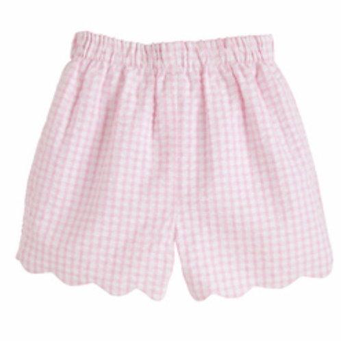 Little Pink Scallopped Shorts-Pink Seersucker size 7