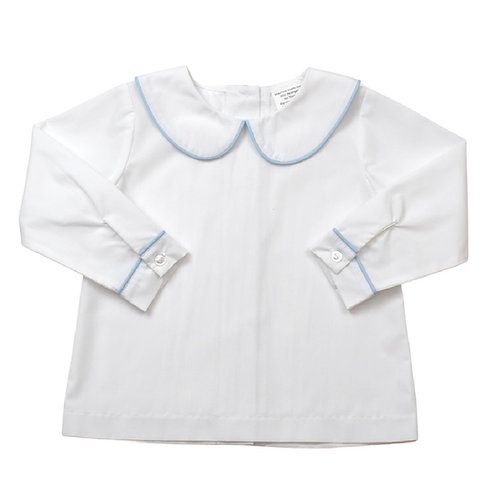 Lullaby Set White Woven Sibley Shirt with Blue Piping