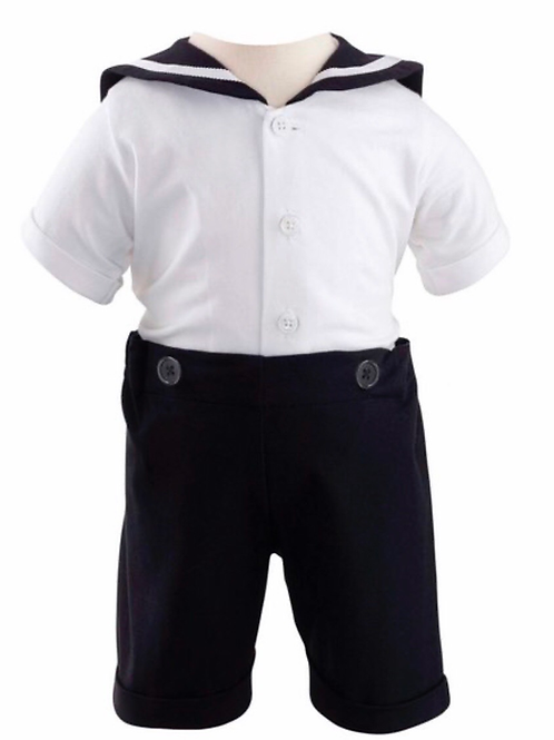 Rachel Riley Navy and White Jersey Sailor Set