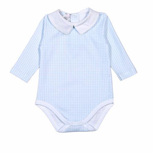 Baby Bliss Pima Light Blue Gingham Bodysuit