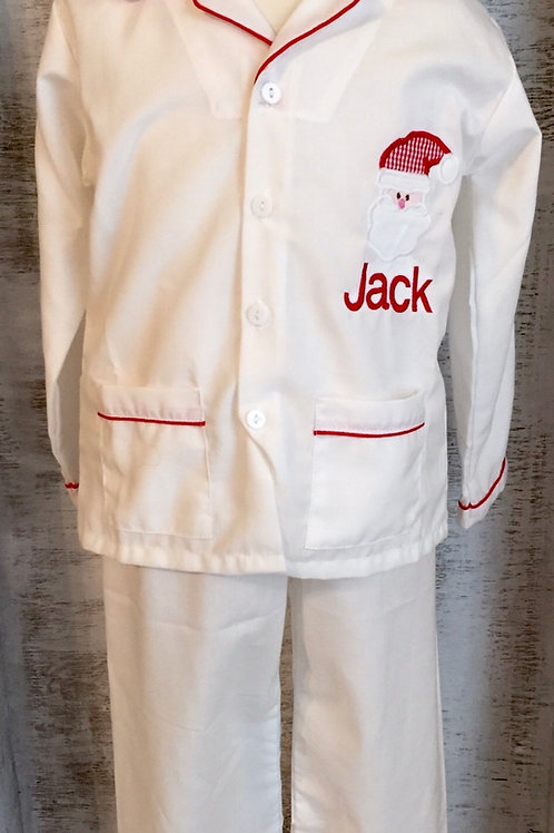 White Pajamas with Red Piping