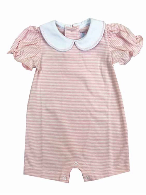 Lullaby Set Striped Knit Romper-Pink