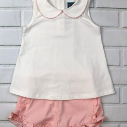 Honesty Pink and White Knit Short Set