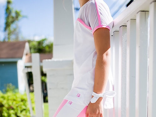 SET Athleisure White Mesh Top Ling Shirt with Pink Trim