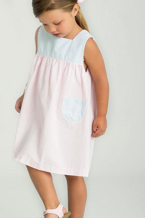 Little English Pink and Blue Seersucker Gingham Madison Sundress