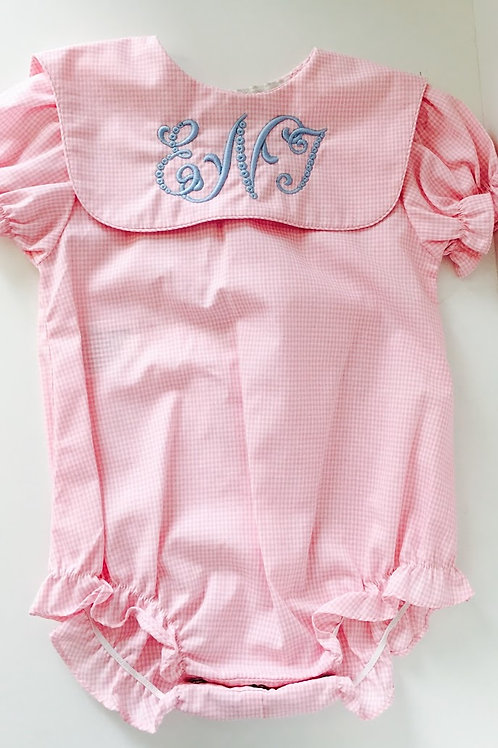 Rosalina Pink Gingham Buble with Square Gingham Collar 12 mo