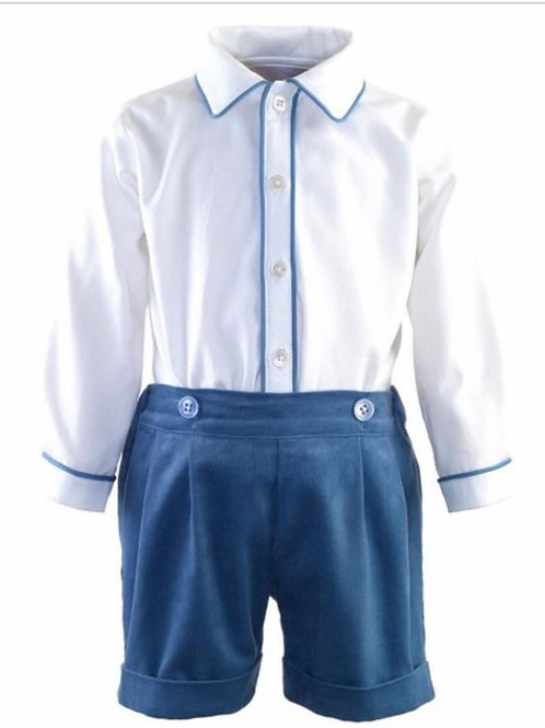 Rachel Riley Blue Trim Shirt and Short Set-Heritage Collection