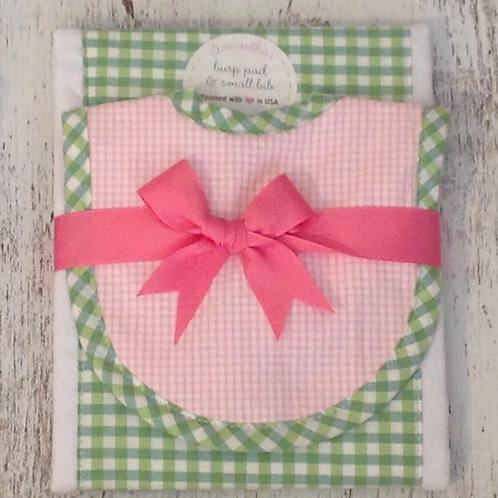 3 Marthas Pink and Green Gingham Bib/Burp Set