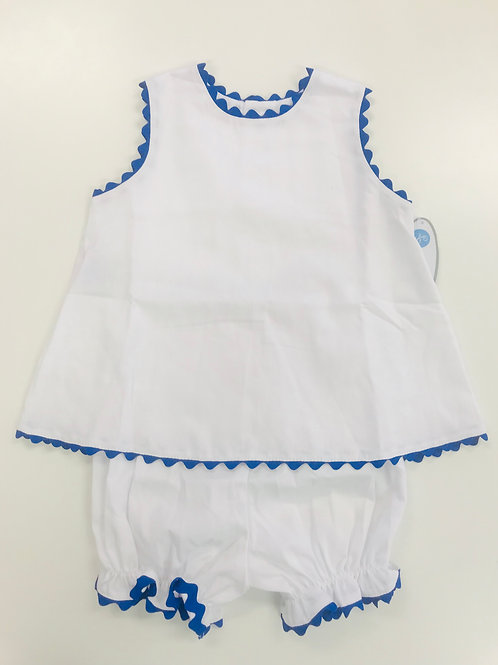 Lullaby Set White Pique Bloomer Set with Royal Ric Rac