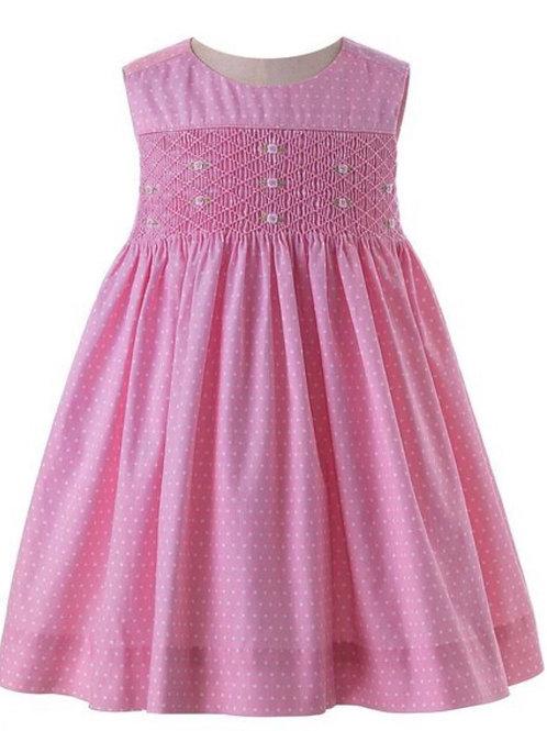 Rachel Riley Rose Smocked Polka Dot Pinafore Dress