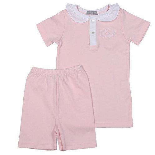 Baby Bliss Pink Pima Short-Sleeve Pajamas