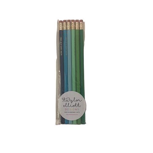 Motivational Pencil Set-Blues and Greens