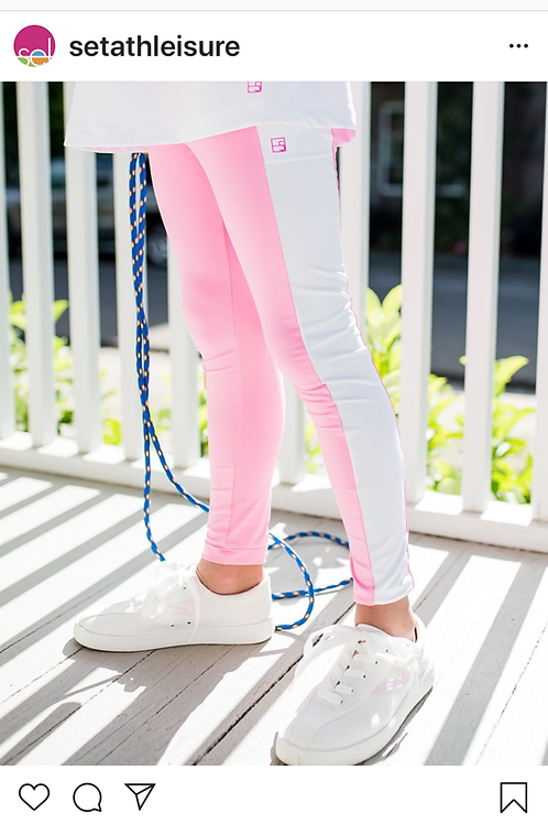 SET Athleisure Pink and White Leggins with Pocket