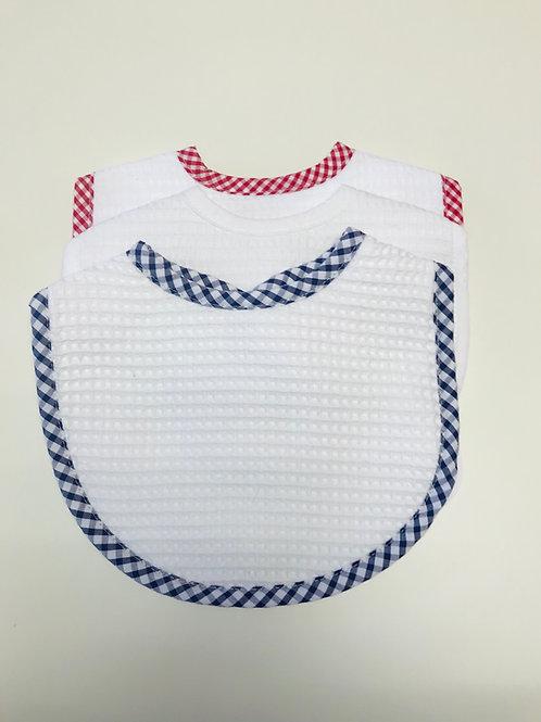 3 Marthas Pique Bib-Navy, Red, White