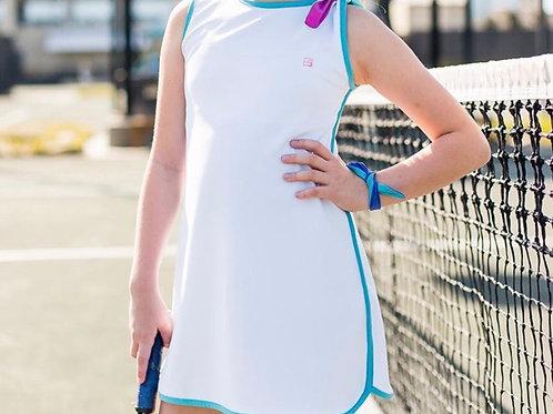 SET Athleisure White with Teal Tennis Dress