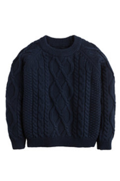 Little English Navy Cable-Knit Sweater
