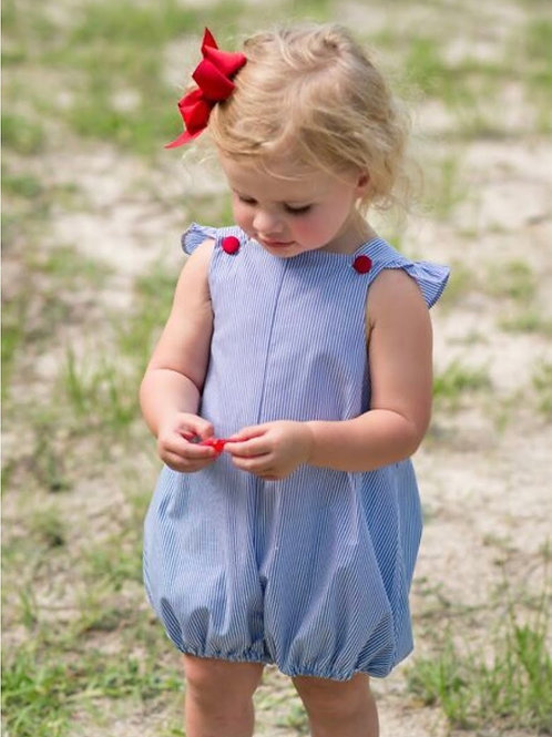 Lullaby Set Girls Navy and White Striped Bubble with Red Buttons