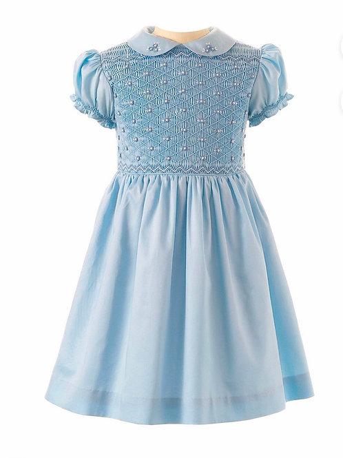 Rachel Riley Light Blue Flower Smocked Dress