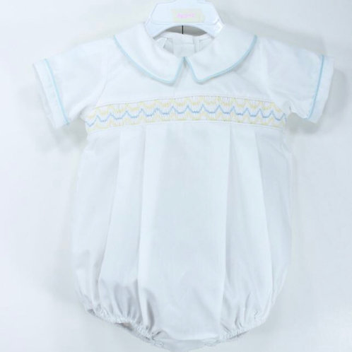 Baby Blessings White Bubble with Blue and Yellow Smocking