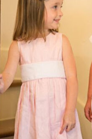 Lullaby Set Pink Linen Sash Dress 4t