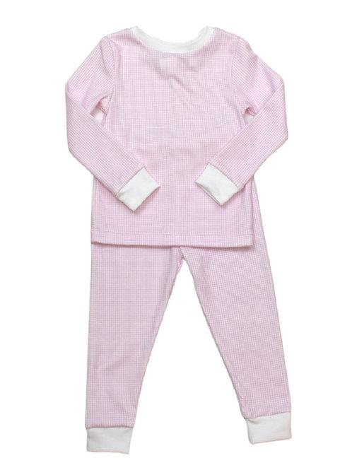 Lullaby Set Pink Gingham Pima Pajamas