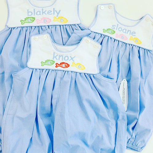 Lullaby Set Light Blue Gingham and White Unisex Yoke Bubble