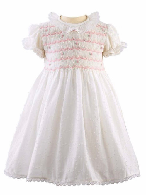 Rachel Riley Swiss Dot Smocked Dress-White with Pink