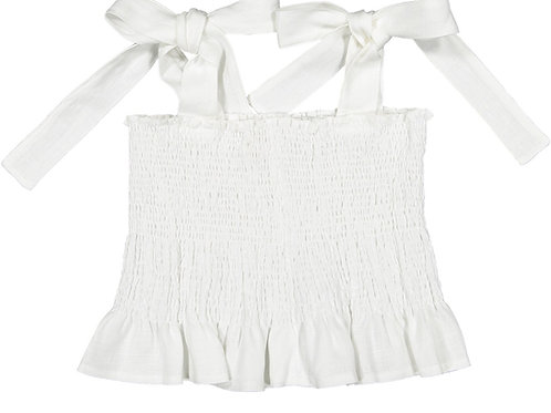 Sal & Pimenta White Linen Jasmin Girls Top