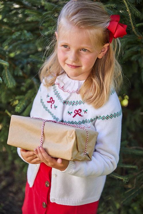 Little English Holiday Bow Fair Isle Cardigan Sweater