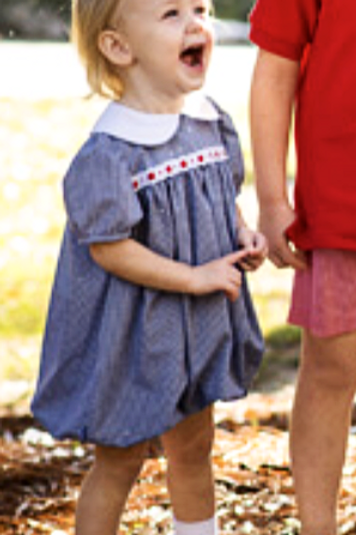 Lullaby Set Navy Gingham Bubble with Eyelet/Red Ribbon Trim 9, 12, 18 mo