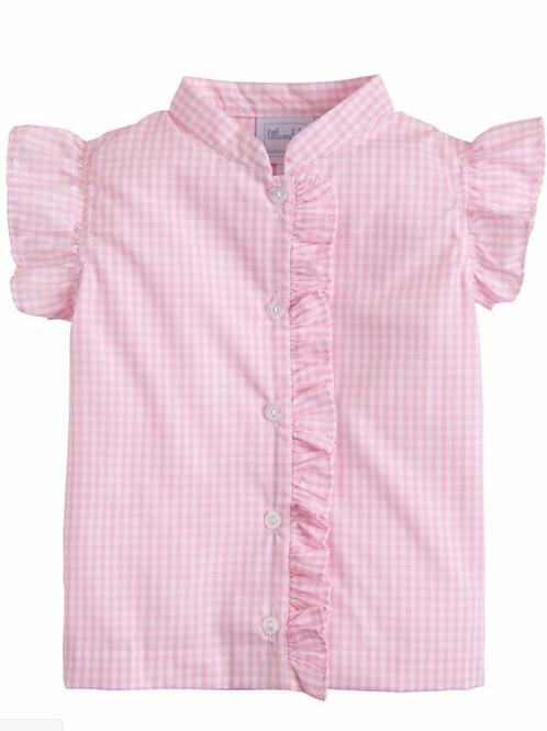Little English Pink Gingham Flutter Blouse. Size 6
