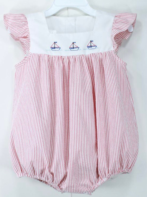 Baby Blessings Red Stripe Sailboat Bubble 12, 18 mo