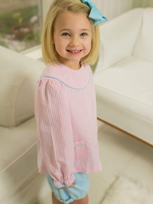 Lullaby Set Pink Gingham Yoke Top with Light Blue Knit Bloomer Set